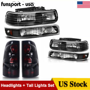For 1999 2002 Chevy Silverado Headlights Bumper Lamp Rear Tail Lights Pair Set