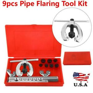 9pcs Pipe Flaring Tool Kit Tube Repair Flare Includes Clamp Spreader Dies Us New