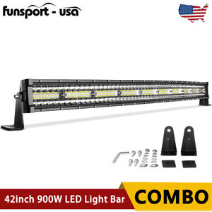 42 Inch 900w Curved Tri Row Led Light Bar Combo Truck Offroad 4wd Truck Atv 40