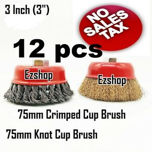 12 Wire Cup Brush Wheel 3 75mm For 4 1 2 115mm Angle Grinder Twist Crimped