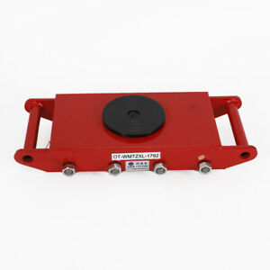 Red 12t Heavy Duty Machine Dolly Skate Roller Machinery Mover Steel Wheel Usa