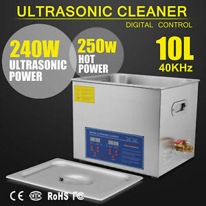 Industry Heated Ultrasonic Cleaner Heater 10 L Liter Stainless Steel W timer Us