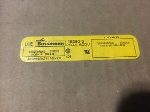 New Cooper Bussmann 16390 3 Power Stud Distribution Terminal Block 250a 600v