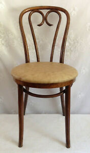 Antique Thonet Radomsko Bentwood Cafe Chair Labeled Padded Seat Made In Poland