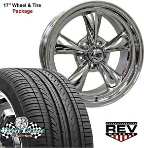 17x7 17x8 Polished Rev Classic 100 Wheels Tires Ford Falcon 5 lug 1966 1967