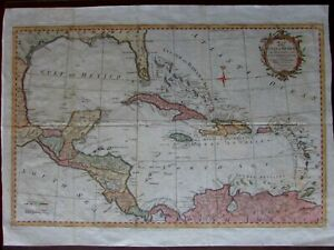 Gulf Of Mexico Florida Islands Yucatan Caribbean West Indies C 1793 Kitchin Map