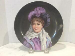 Antique Hand Painted Porcelain Portrait Plate Pretty Young Woman In Plumed Hatt