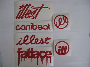 6 Sticker Pack2 Red Vinyl Decal Fatlace Illest Canibeat Jdm Drift Race Car Vip
