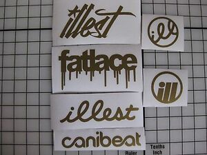 6 Sticker Pack2 Gold Vinyl Decal Fatlace Illest Canibeat Vip Jdm Drift Race Car