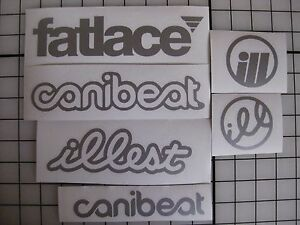 6 Sticker Pack1 Silver Vinyl Decal Fatlace Illest Canibeat Jdm Drift Race Car