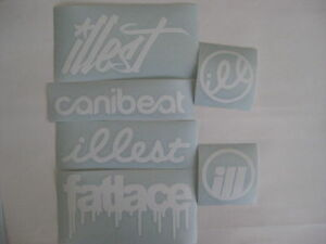6 Sticker Pack2 White Vinyl Decal Fatlace Illest Canibeat Jdm Drift Race Car Vip