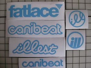 6 Sticker Pack1 Sky Blue Vinyl Decal Fatlace Illest Canibeat Jdm Drift Race Car