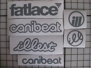 6 Sticker Pack1 Gray Vinyl Decal Fatlace Illest Canibeat Jdm Drift Race Car Vip