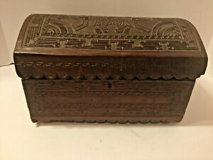 Vintage Hand Tooled Leather Myan Large Domed Chest Jewelry Box
