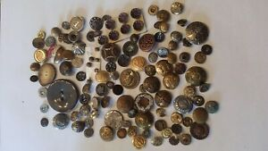 Large Lot Antique Sewing Buttons Uniform Military Civil War Brass Nice