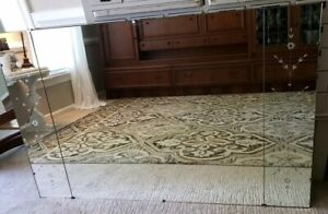 Large Vintage Art Deco Frameless Wall Mirror Etched Flower Side Panels Heavy