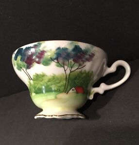 Porcelain Tea Cup Footed Collectible Hand Painted Japan
