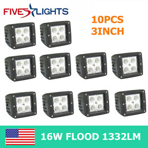 10x 16w Square Cube Led Work Light Spot Beam Offroad Driving Fog Bumper Motor