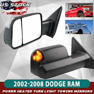 Tow Mirror Fit Dodge Ram 1500 2500 3500 Towing Power Heated Flip Up Signal Light