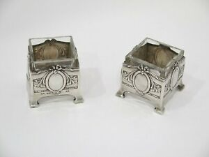 Set Of 2 2 In Sterling Silver Glass Antique Peruvian Salt Cellars