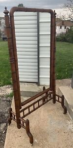 Antique Faux Bamboo Cheval Mirror Free Standing Tilt Floor Mirror Vtg Hollywood