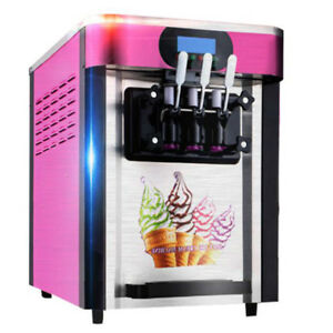 Soft Ice Cream Making Machine 3flavors Desktopsmall Automatic Drum Led Display