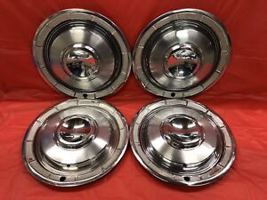 Vintage Set Of 4 1960 Chrysler 14 Hubcaps New Yorker Fifth Avenue Saratoga