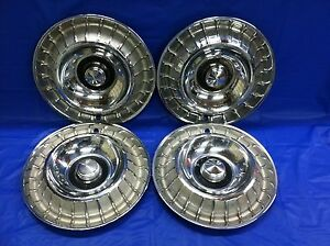 Vintage Set Of 4 Rare 1963 Ford 14 Hubcaps Thunderbird T bird Fomoco Oem