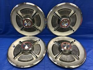 Vintage Set Of 4 1965 Ford 15 Spinner Hubcap Galixie Fairlane Hd Xl Flipper Gc