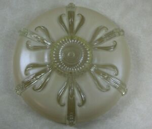 Antique Art Deco Period Tan Clear Glass Ceiling Light Shade Cover Large 14