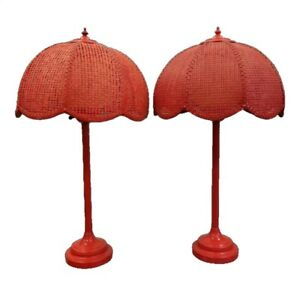 Pair 60 S Mid Century Orange Wicker Caned Table Lamp Bohemian Decor Palm Beach