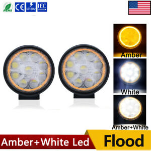 4inch Led Work Light 4300k Amber White Bumper Fog Lamp Round Golf Cart Atv Truck