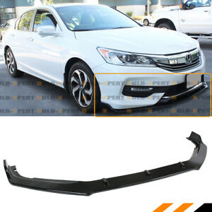 For 16 17 Honda Accord Gloss Blk Jdm Gt Style Front Bumper Lip Spoiler Splitter