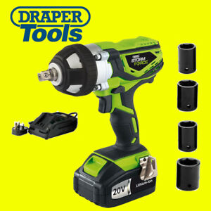 Draper 01031 Storm Force 20v Cordless 1 2 Drive Impact Wrench Gun With Sockets