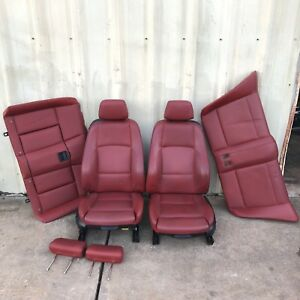 08 13 128 135 Convertible Red Leather Seats Set Front Heated Electric E88 Red