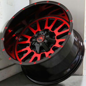 20x12 Black Machined Red Wheels American Off Road A105 5x5 5x127 44 Set Of 4