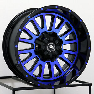 20x12 Black Machined Blue Wheels American Off Road A105 8x6 5 44 Set Of 4