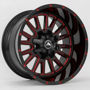 20x12 Black Milled Red Wheels American Off Road A105 8x6 5 44 Set Of 4