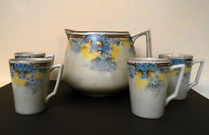 Large Rare Antique Hand Painted Cider Or Lemonade Pitcher Cups 1891 1921