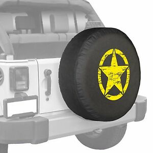 35 Distressed Star Boomerang Tire Cover Fits Jeep Wrangler Freedom Yellow