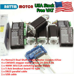 Usa 4 Axis Nema 23 Dual Shaft Stepper Motor 425oz in 112mm cw5045 Driver Cnc Kit