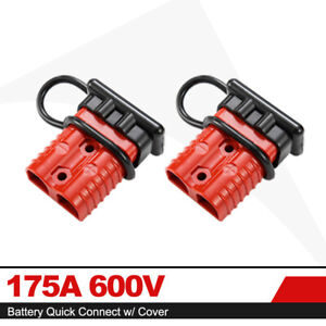175a 600v Battery Quick Connect Disconnect W Dust Cover Power Connector Red