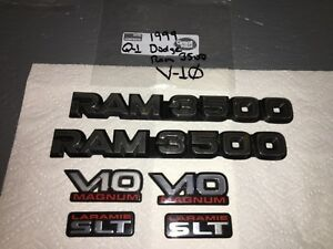 1994 02 Dodge Ram 3500 V10 Door Emblems Oem 6 Pieces Vhtf