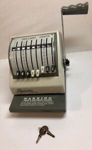 Paymaster 9000 8 Check Writer Protector Beige On Gray Color With Keys Tested