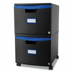 Storex Two drawer Mobile Filing Cabinet Black blue stx61314u01c