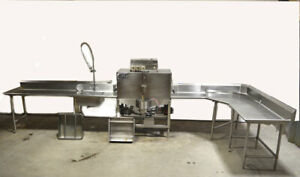 Cma B 2 Pass thru Dual rack Commercial Dishwasher Sink Table Stainless