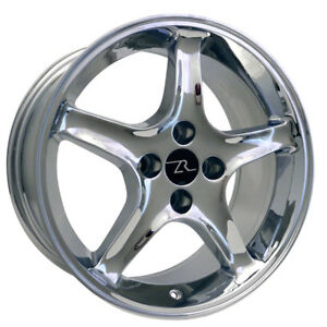 17 Chrome Ford Mustang Cobra R Replica Wheels Staggered 17x8 17x9 4x108 79 93