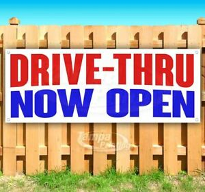Drive thru Now Open Advertising Vinyl Banner Flag Sign Many Sizes