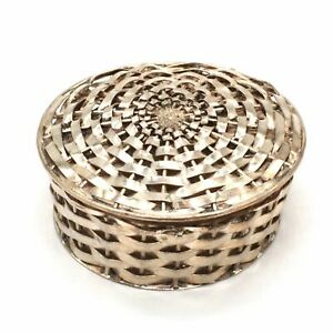Beautifully Crafted Woven Mexico Sterling Silver Pill Basket