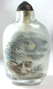 Reverse Painted Inside Two Sided Glass Crystal Tiger Scenic Chinese Snuff Bottle